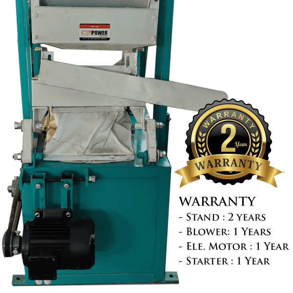 warranty of dust cleaner and destoner machine